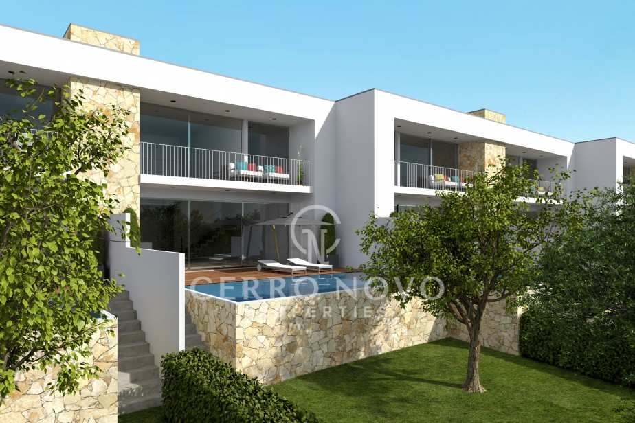 Luxury attached villas with individual swimming pools, gardens and garages